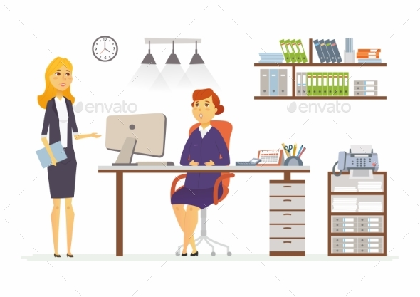 Office Discussion - Modern Vector Cartoon Business - Concepts Business