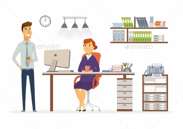 Office Consultation - Modern Vector Cartoon - Concepts Business