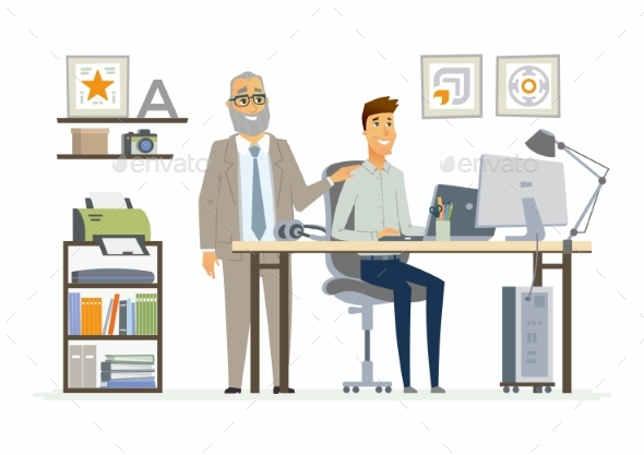 Supervising Staff - Modern Vector Cartoon Business - Concepts Business