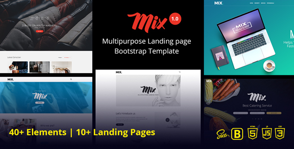 Download Mix Multipurpose Landing Page Bootstrap Template            nulled nulled version