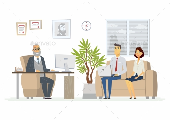 Office Head Consultation - Modern Vector Cartoon - Concepts Business