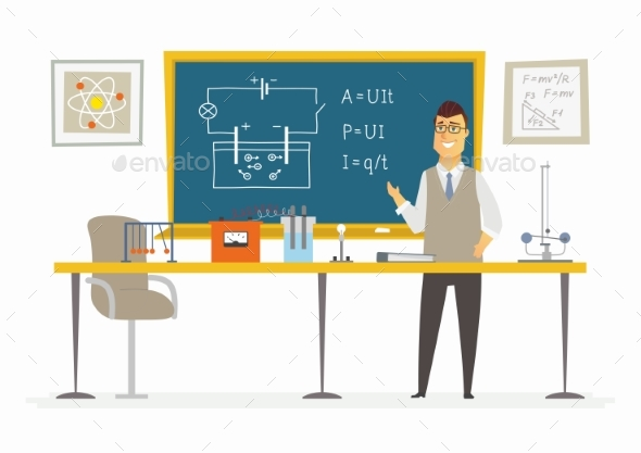 GraphicRiver Physics Classroom Male Teacher Composition 20519068