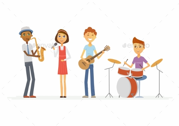 GraphicRiver School Music Band Cartoon People Characters 20519070
