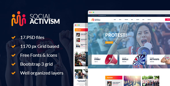 Social Activism – Non-Government Organization PSD Template