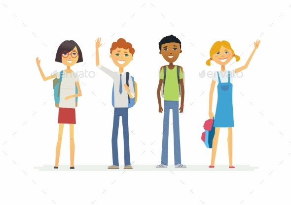 Standing Schoolchildren with Backpacks - People Characters