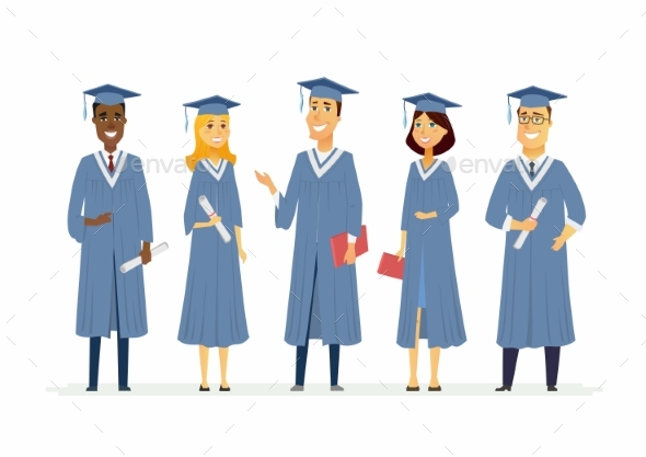 Graduating Students - People Characters