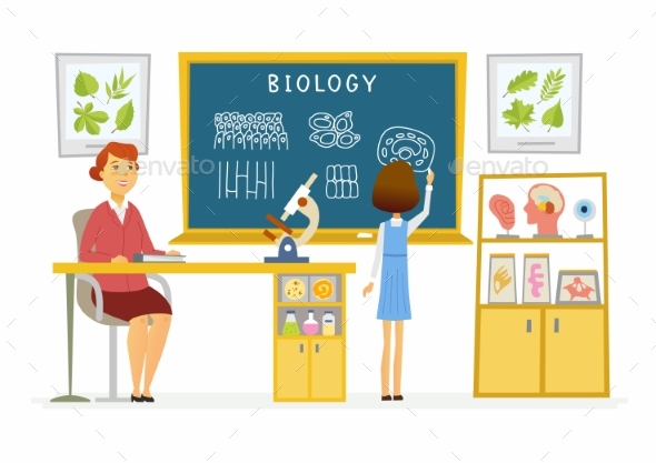 GraphicRiver Biology Lesson at School Modern Cartoon People 20519094