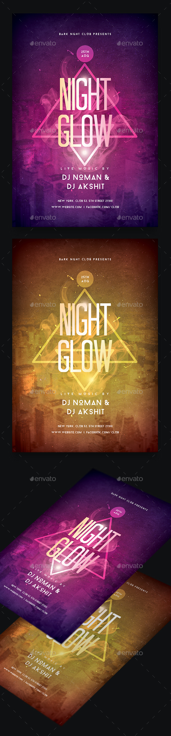Night Glow Party Flyer - Clubs & Parties Events