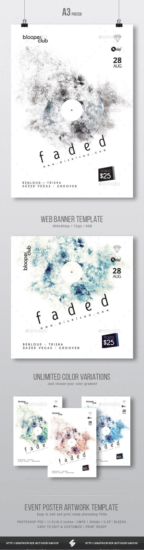 GraphicRiver Faded Minimal Party Flyer Poster Artwork Template A3 20519182