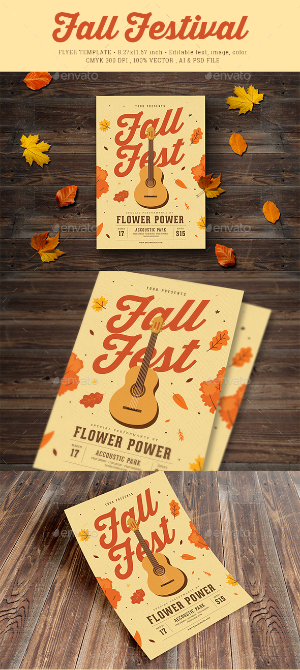 Fall Coustic Music Event Flyer - Events Flyers
