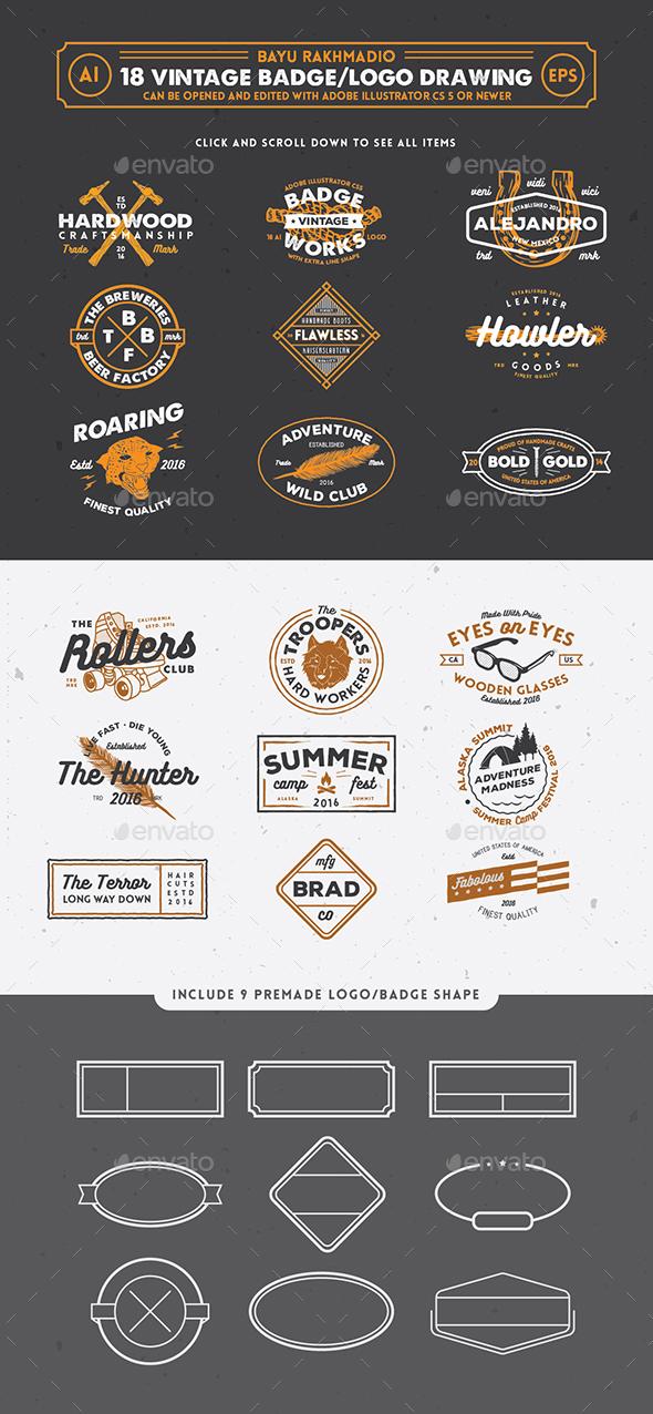 18 Hipster Vintage Badges - Badges & Stickers Web Elements