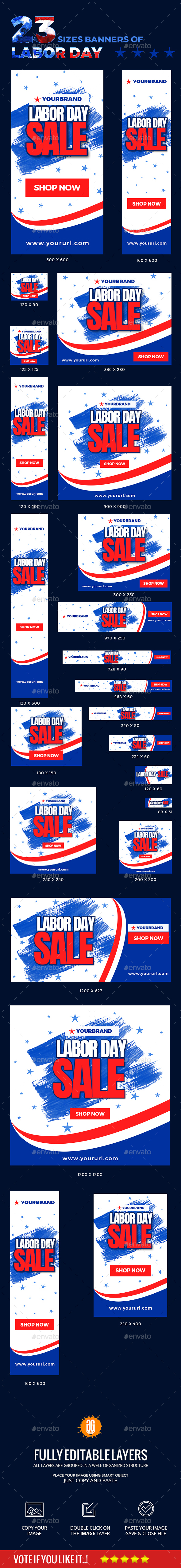 23 Labor Day Banners - Banners & Ads Web Elements