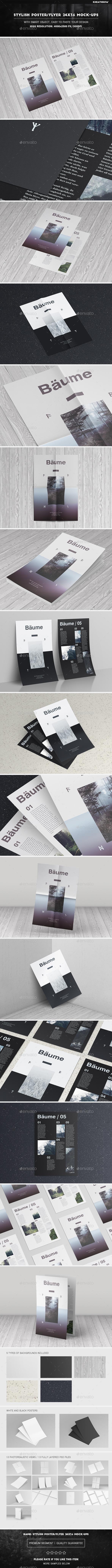 Stylish Poster / Flyer 24x36 Mock-Ups - Product Mock-Ups Graphics