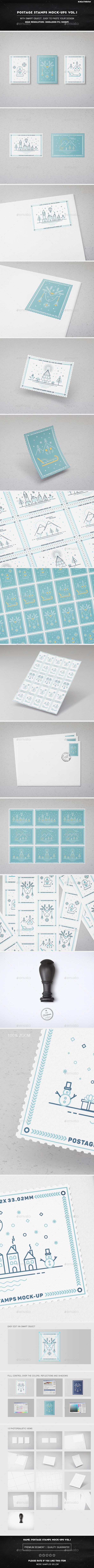 Postage Stamps Mock-Ups Vol.1 - Product Mock-Ups Graphics