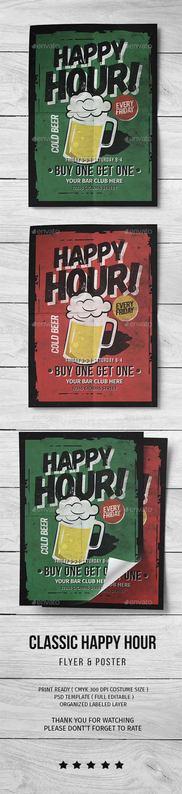 Classic Happy Hour Flyer - Flyers Print Templates