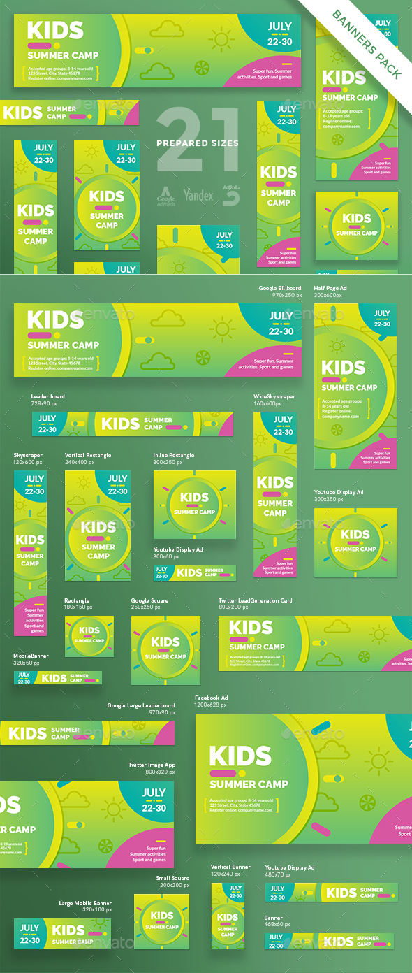 Kids Summer Camp Banner Pack - Banners & Ads Web Elements
