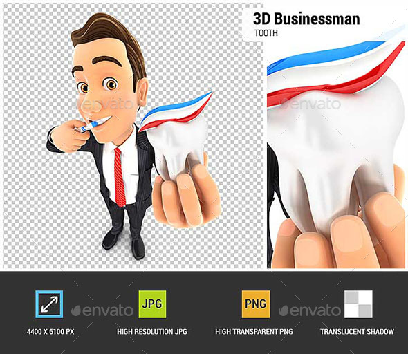 GraphicRiver 3D Businessman Brushing his Teeth and Holding Tooth 20519863