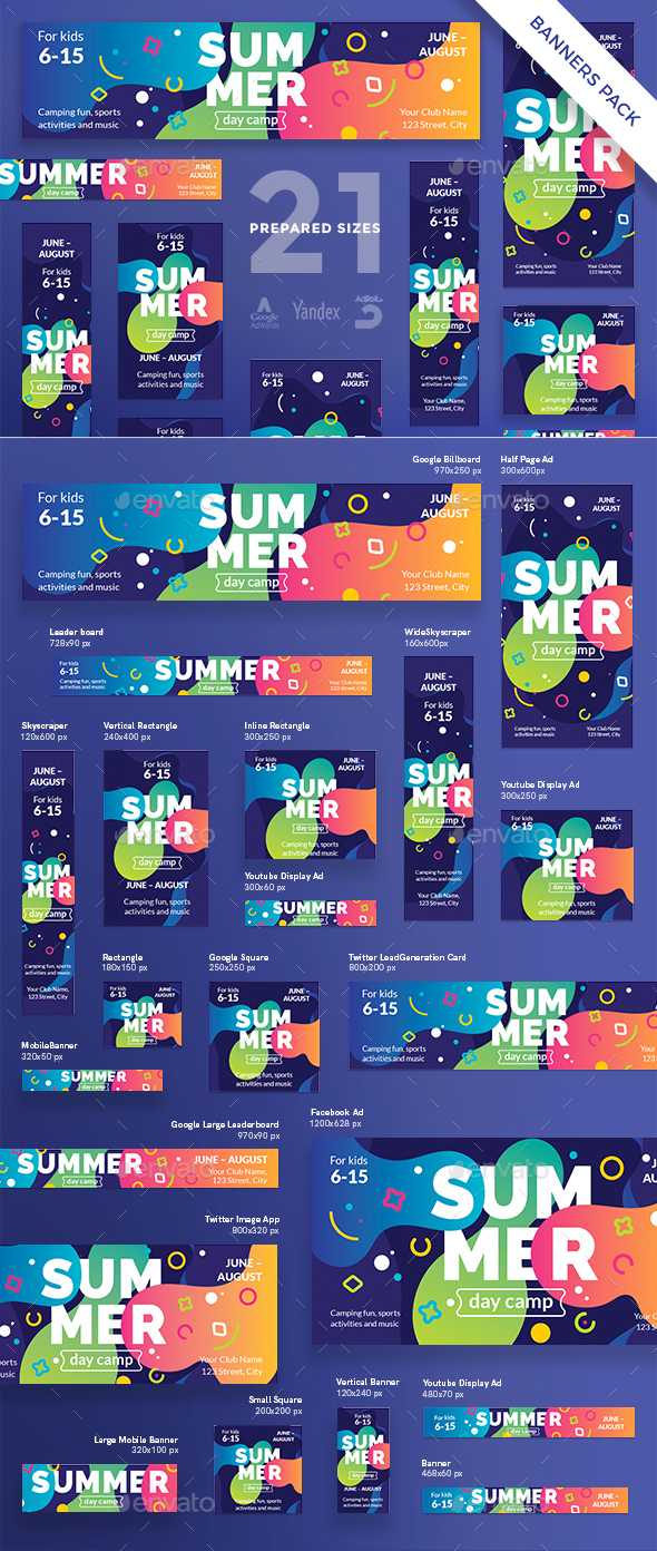 Summer Day Camp Banner Pack - Banners & Ads Web Elements