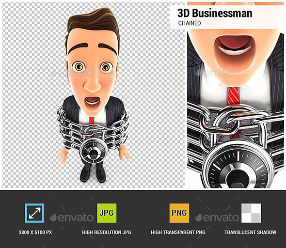 GraphicRiver 3D Businessman Chained 20519873