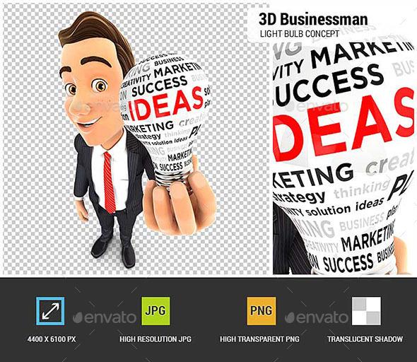 3D Businessman Light Bulb - Characters 3D Renders