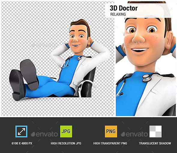 3D Doctor Relaxing with Feet Up on his Desk - Characters 3D Renders