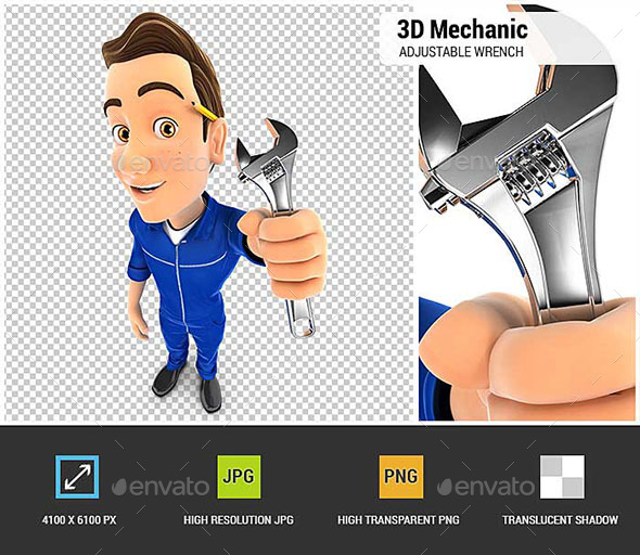 3D Mechanic Holding Adjustable Wrench - Characters 3D Renders