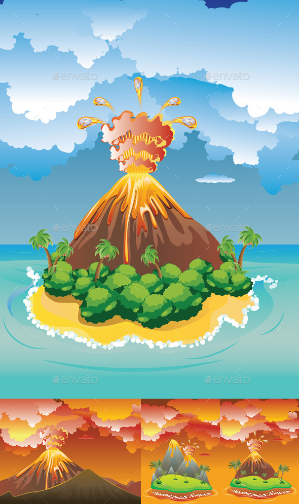 Cartoon Volcano Eruption - Landscapes Nature