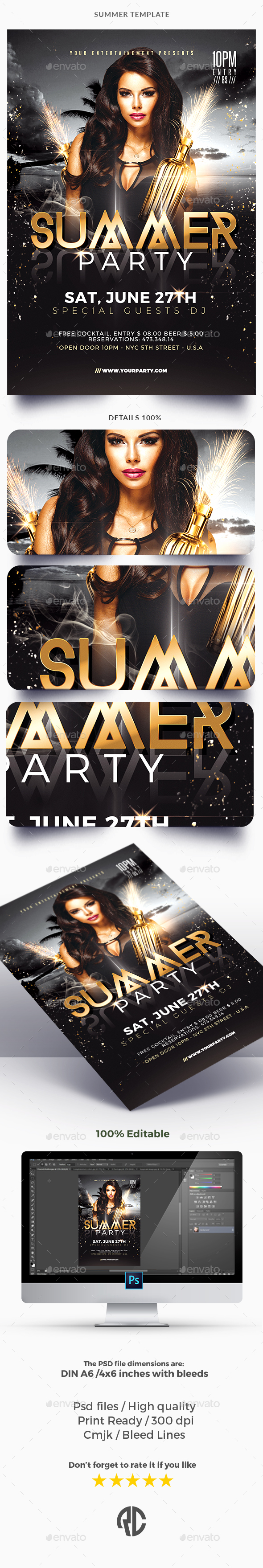 Classy Summer - Flyer Template - Clubs & Parties Events