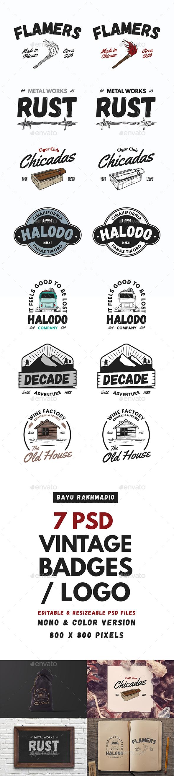 7 Vintage Badges / Labels