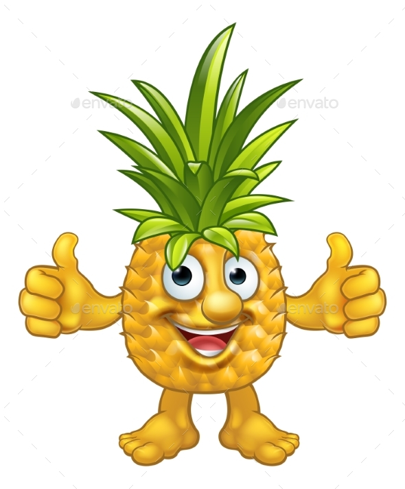 Cartoon Fruit Pineapple Mascot Character - Food Objects