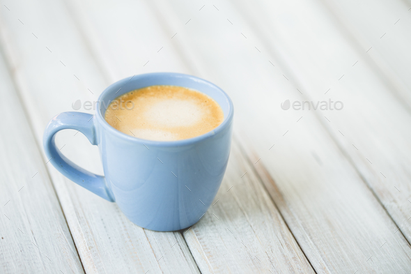 On Cup Wooden Background View Top Table Coffee Latte OZwTlPXkiu