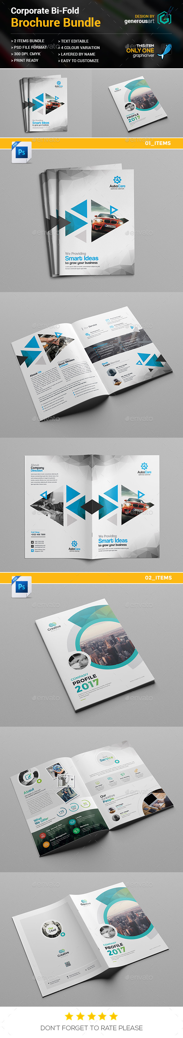 Bi-Fold Brochure Bundle 2 in 1 - Brochures Print Templates