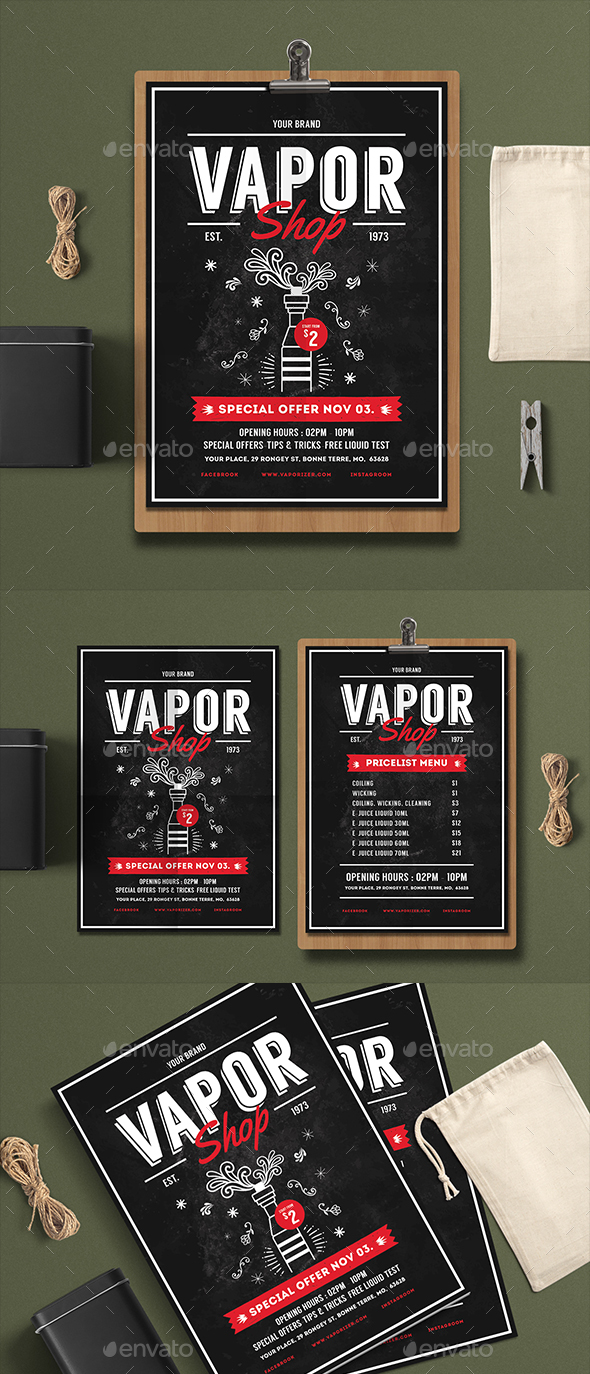 Vape Shop Flyer Menu - Events Flyers