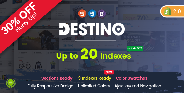 Destino - Responsive Multipurpose Sections Drag & Drop Builder Shopify Theme