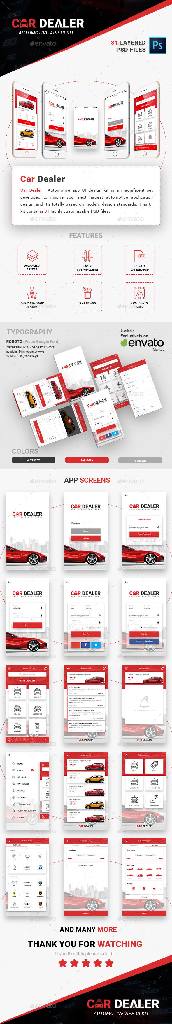 Car Dealer - Automotive App UI Kit - User Interfaces Web Elements