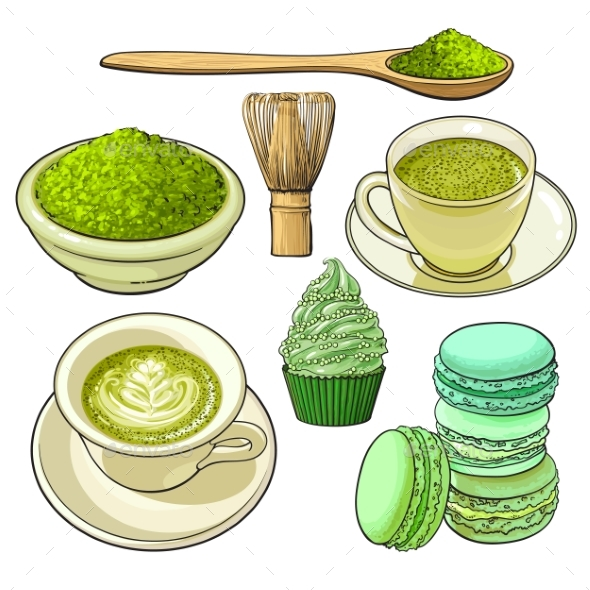 Big Set of Matcha Green Tea, Food and Accessories - Food Objects