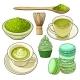 Big Set of Matcha Green Tea, Food and Accessories