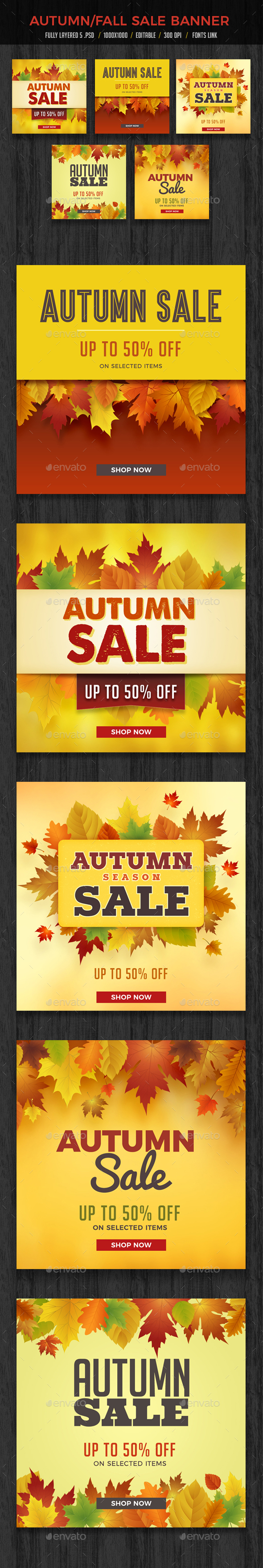 Autumn Fall Sale Banners Set - Banners & Ads Web Elements