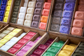 Colorful Marseille soaps arranged in boxes - PhotoDune Item for Sale