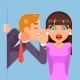 Whispering Ear Secrets Cartoon Businessman Gossip