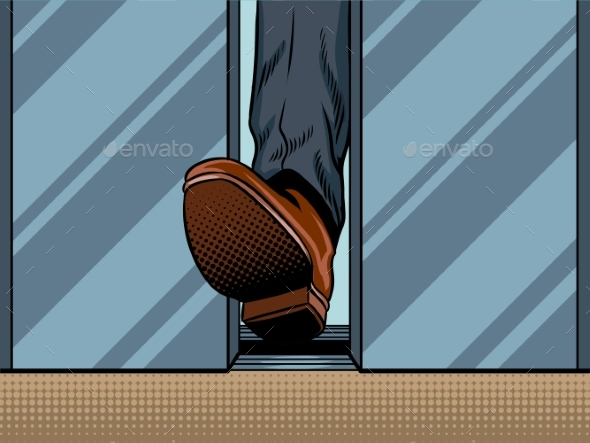 Foot Holds Closing Elevator Door Pop Art Vector - People Characters