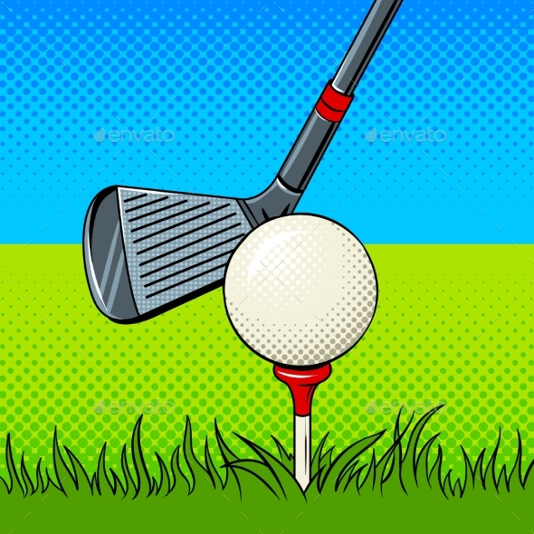 Putter and Golf Ball Door Pop Art Vector - Sports/Activity Conceptual