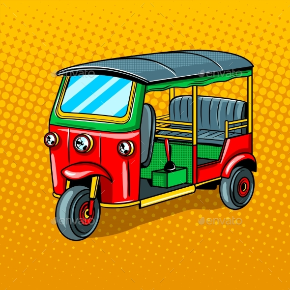 GraphicRiver Auto Rickshaw Transport Pop Art Style Vector 20521604
