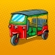 Auto Rickshaw Transport Pop Art Style Vector - GraphicRiver Item for Sale