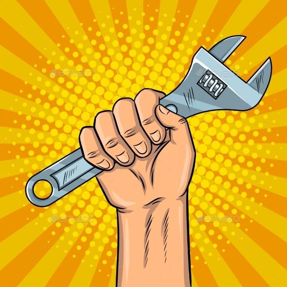 GraphicRiver Adjustable Wrench Pop Art Vector Illustration 20521607