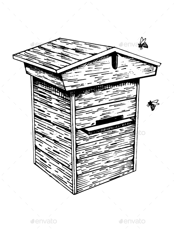 Bee Hive and Bees Engraving Vector Illustration - Miscellaneous Vectors