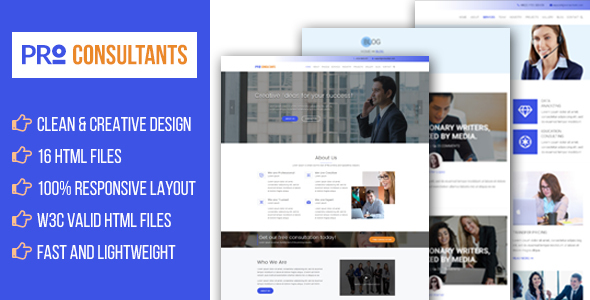 Pro Consultant - Business Consulting, Professional Services HTML Template - Business Corporate