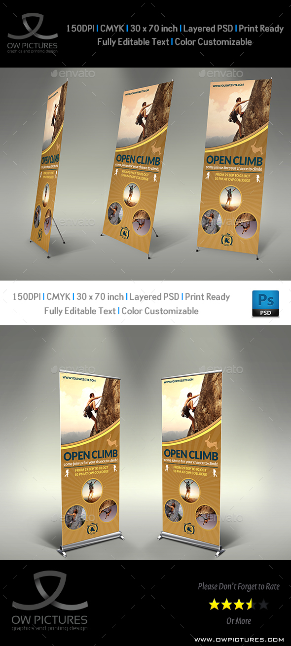 Climbing Sport Signage Roll Up Banner Template - Signage Print Templates