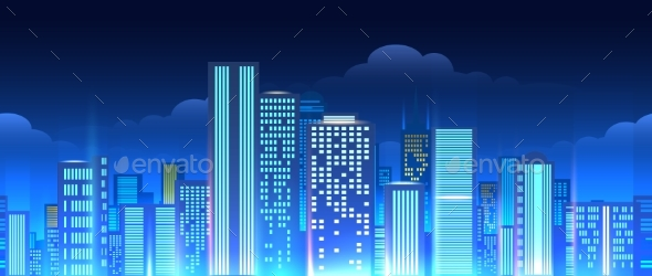 GraphicRiver Neon Lights Cityscape Seamless Pattern 20522079