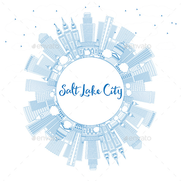 Outline Salt Lake City Skyline with Blue Buildings and Copy Space - Buildings Objects